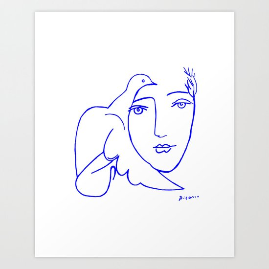 dove face by picasso art print