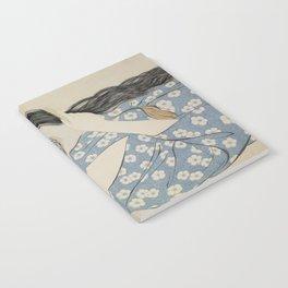 Hashiguchi Goyo: Woman Combing Her Hair Japanese Woodblock Print Blue Floral Kimono Black Hair Notebook