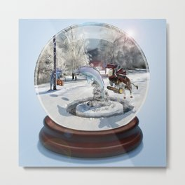Blue Christmas Globe Metal Print