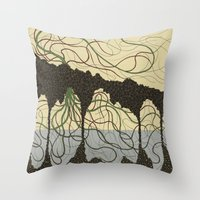 hawaiian Throw Pillows featuring first hawaiian by thefleafarm (Amy Wright)