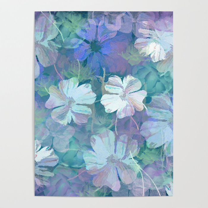 Painterly Midnight Floral Abstract Poster
