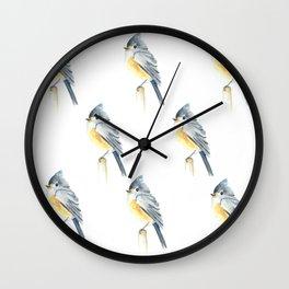 Watercolor bird pattern Wall Clock