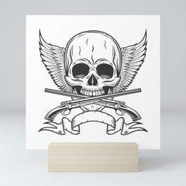 Vintage skull with wings, ribbon and crossed sawn-off shotgun monochrome print illustration Mini Art Print