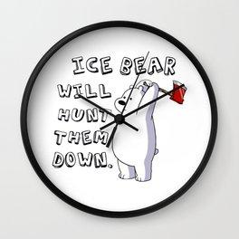 Ice bear the hunter Wall Clock