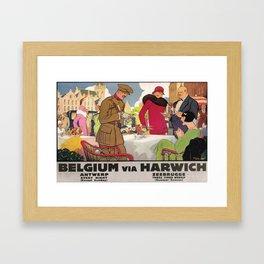 retro poster Belgium via Harwich Framed Art Print