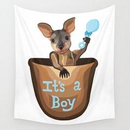 Kangaroo Baby: It's a Boy  Wall Tapestry