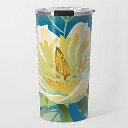 Green border Magnolia Travel Mug