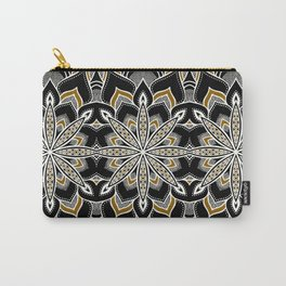 Mandala: Black White Brown Flower Carry-All Pouch