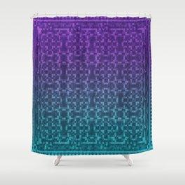Pixel Patterns Green/Purple Shower Curtain