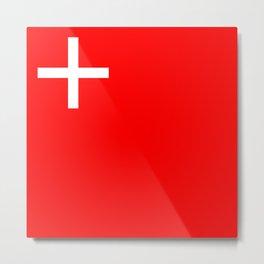 Schwyz region switzerland country flag swiss Metal Print