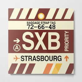 SXB Strasbourg • Airport Code and Vintage Baggage Tag Design Metal Print