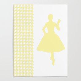 Cream Modern Houndstooth w/ Fashion Silhouette Poster