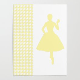 Cream Modern Houndstooth w/ Fashion Silhouette Poster