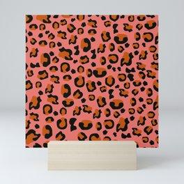 Jungle - Leopard Pattern Living Coral Mini Art Print