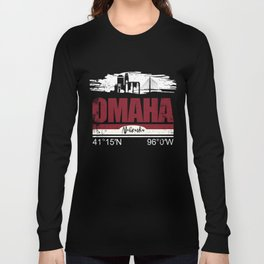 Omaha Hometown Cool City With GPS Coordinates Long Sleeve T-shirt