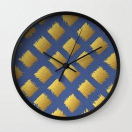 Blue and Gold Trendy Design #society6 #decor #buyart #artprint Wall Clock