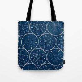 Sanddollar Pattern in Blue Tote Bag