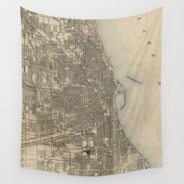Vintage Map of Chicago (1899) Wall Tapestry