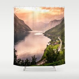 Fjord at sunset Shower Curtain