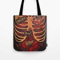 dead Tote Bags featuring Anatomical Study - Day of the Dead Style by Steve Simpson