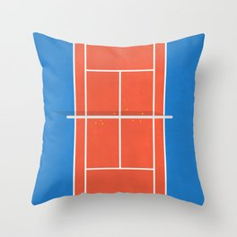 Match Point | Aerial Illustration Throw Pillow
