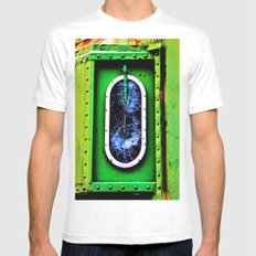 Shattered MEDIUM White Mens Fitted Tee