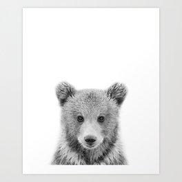 Baby Bear Black & White, Woodland Nursery Decor, Baby Animals Art Print by Synplus Art Print