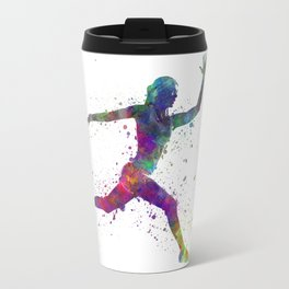 Woman runner running jumping Travel Mug