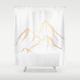Adventure White Gold Mountains Shower Curtain