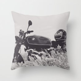 Scrambler photography, motorcycle lovers, motorbike, café racer, cafe racer, man cave gift Throw Pillow