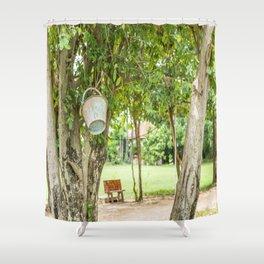 Bucket & Trees, Killing Fields, Cambodia Shower Curtain
