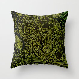 Glowing monkey, digital lino print Throw Pillow