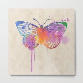 Colorful Rainbow Butterfly in Watercolour Metal Print