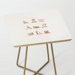 English Bulldog Yoga Watercolor Side Table