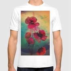 Poppies MEDIUM White Mens Fitted Tee
