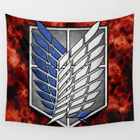 shingeki no kyojin Wall Tapestries featuring shield of shingeki  by Blaze-chan