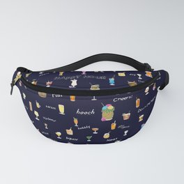 Happy Hour Cocktails and Brews on Dark Blue Fanny Pack