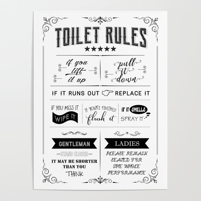 Toilet Rules Poster By Muharko Society6