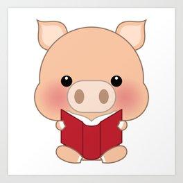 Cute funny cartoon pig -  Reading a book Art Print
