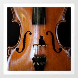 Black Cat And Violin #decor #society6 #buyart Art Print