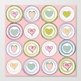Badge of Hearts -Pink Canvas Print
