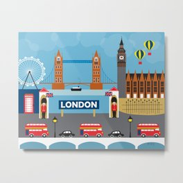 London, England - Collage Illustration by Loose Petals Metal Print
