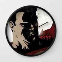 man of steel Wall Clocks featuring MAN OF STEEL by Taylor Callery Illustration