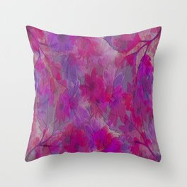 Painterly Evening Floral Abstract Throw Pillow