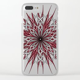 Mandala silver and red Clear iPhone Case