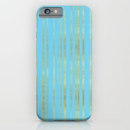 Golden and Cyan Stripes Pattern, Luxury Print in Turquoise Color and Gold   iPhone Case