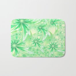 Pastel Green Wildflowers Bath Mat