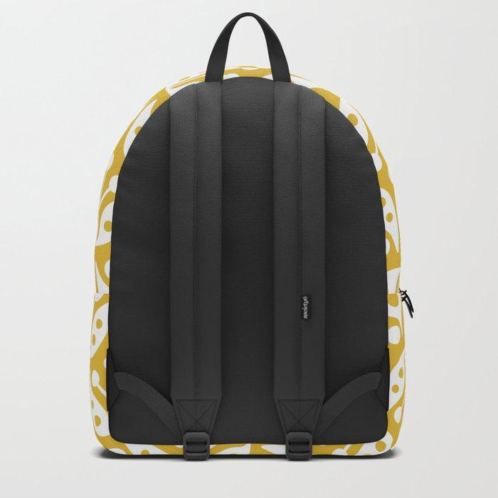 Mid Century Modern Flower Pattern Mustard Yellow Backpack