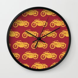 Antique Motorcycle // Red-Gold Wall Clock