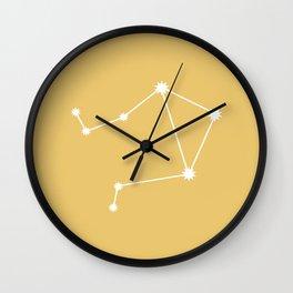 Libra Zodiac Constellation - Golden Yellow Wall Clock